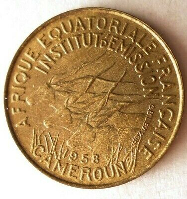 1958 CAMEROON 5 FRANCS - BIG VALUE - AU - Rare Exotic African Coin - Lot #M23