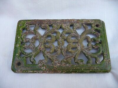 Antique French Small Enameled Cast Iron Grill Vent Old Stove Ventilation 1930s
