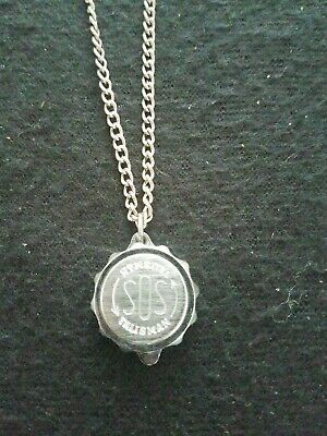 """Talisman SOS Pendant on 925 Sterling Silver 18"""" Necklace"""