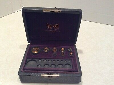 Vintage Voland brass jeweler's weights, set of 8 in fitted box