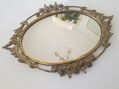 Beautiful Antique Vtg. Gold Ornate Mirror Tray