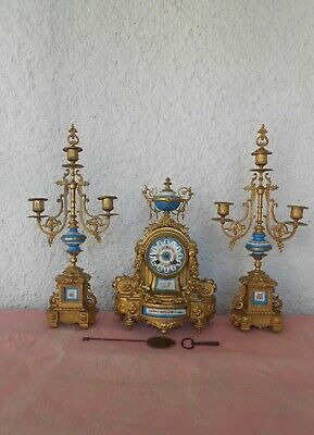 ANTIQUE FRENCH GARNITURE SET CLOCK SEVRES & SPELTER BRONZE & CANDELABRAS 1870's