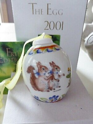 HUTSCHENREUTHER Germany THE EGG DAS EI EASTER 2001 porcelain ORNAMENT Squirrel