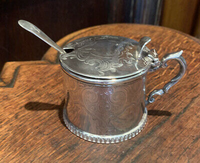 SOLID SILVER MUSTARD POT WITH Later SPOON