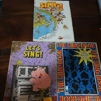 3x Vintage Song Books LET'S SING, THE SING BOOK & TIME TO SING ABC Sheet Music