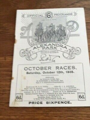 1935 ALEXANDRA PARK racecard  (CLOSED 1970)