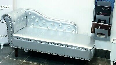 Sofa chesterfield style Padded quilted Queen Silver Beauty Salon