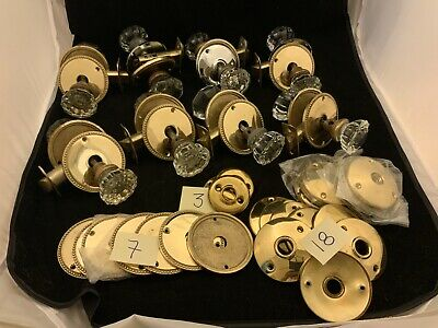 Set Of Antique Crystal Glass Door Knobs Brass Rosettes-Back Plates Plus Hardware