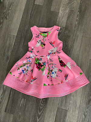 Baker By Ted Baker Girls Pink Floral Party Dress Age 3-4 Years