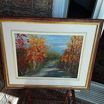 Original oil painting, Landscape, Fall Landscape Painting, Framed Signed Versa