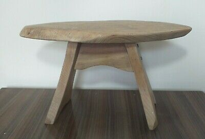 Bespoke Quirky  Antique Hand Carved Chunky Solid Oak Wood Stool Lamp/Plant Stand