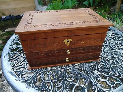 Large Jewellery Box Wooden Indian Hand Made With Drawers & Mirror Trinket Chest