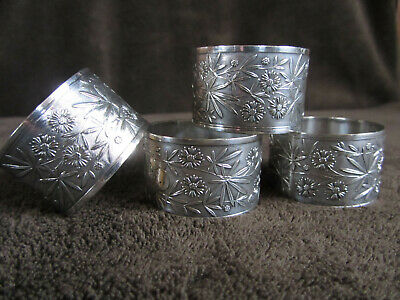 Antique 4 Napkin Rings, possibly silver plate? Japanese aesthetic? Marriage?