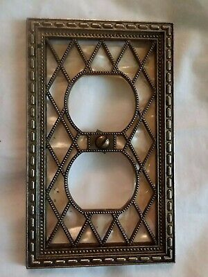 Vintage Ornate Metal Outlet Cover Plate ~ Arts Crafts Diamond Grid Pearl Window