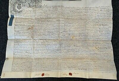 antique 18th Century conveyance vellum indenture with 2 seals, 11th May 1757
