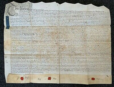 18thC deed of settlement indenture for land in West Haddlesey, Yorks, 1743