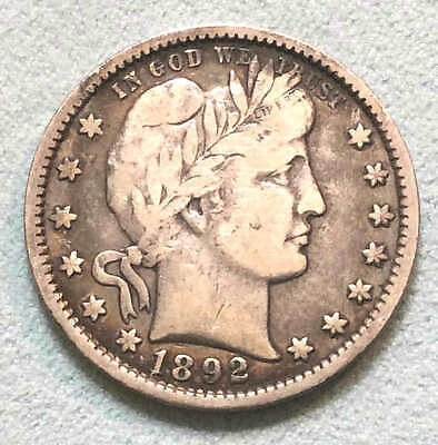 1892 Barber Quarter VF First Year Issue Nice