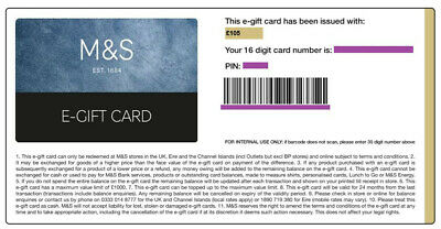 M&S Marks & Spencer £105 Gift Card/Voucher/Certificate Online Code Unwanted Gift
