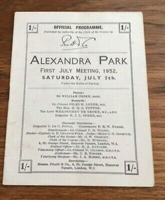 1952 ALEXANDRA PARK racecard  (CLOSED 1970)
