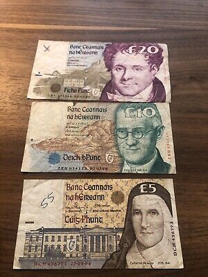 Series C Ireland Republic banknotes 5 10 and 20 pounds
