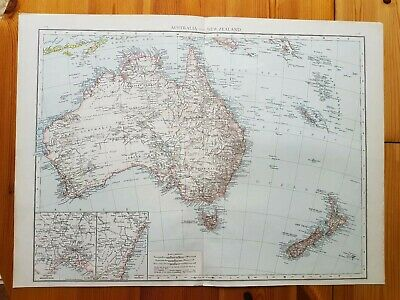 19th Century Engraving Map Australia and New Zealand