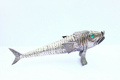 Stunning rare Spanish sterling silver articulated fish green glass eye