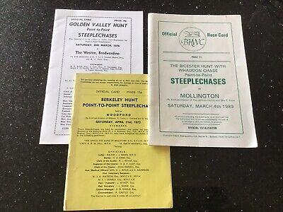 3 Point To Point Race Cards Berkeley 1973,Golden Valley 1976, Bicester 1989