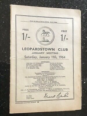 Race Card Leopardstown , Ireland 11/1/1964 Horse racing