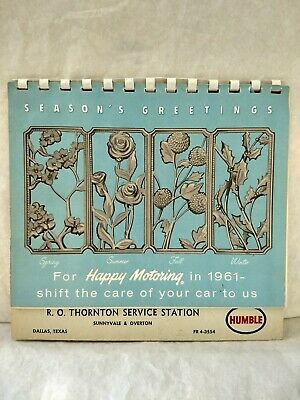 Vintage 1961 Humble Christmas Calendar  R.o. Thornton Service Station Dallas Tx