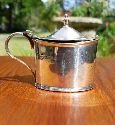 English Sterling Mustard Pot With Original Cobalt Insert By Walker & Hall 1926