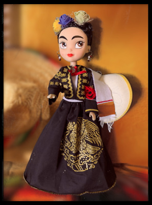 Beautiful Frida Artisan Mexican Doll with Mariachi dress and accessories