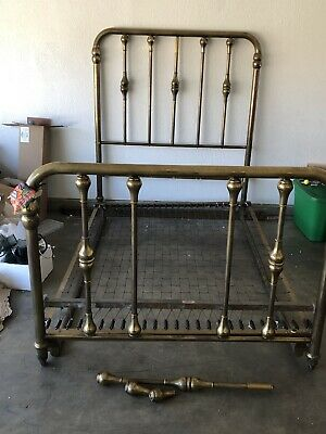 Early 20th Century Solid Brass/Cast Iron Full Size Bed Frame - Four Piece