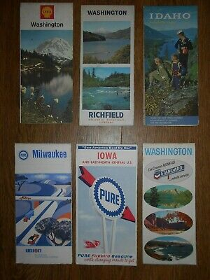 Big Lot of 6 VTG 1950 - 60's Gas Station Road Highway Maps WA ID IA Milwaukee