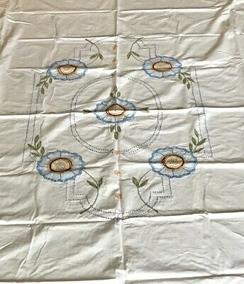 """Vintage Hand Embroidered ART DECO Sheet/Coverlet 80"""" X 77"""""""