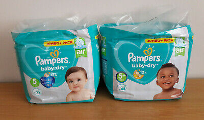 PAMPERS BABY DRY JUMBO PACKS  SIZE 5 (72 NAPPIES) and 5+ (68 NAPPIES)  NEW