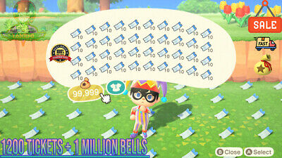 Nook Miles Tickets 1600 🎫 + 3 Millions Bells 🔔 Animal Crossing New Horizons 🏠