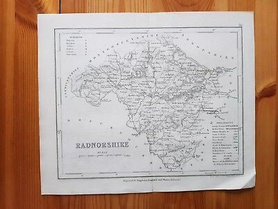 19th Century Engraving Map of Radnorshire DUGDALES