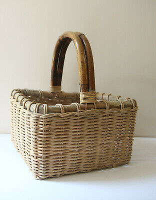 Wicker Bamboo Handle Woven Picnic Square Storage Basket Vintage Handmade