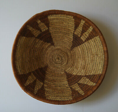 Small Woven Tribal Ethnic Flat Round Basket Neutral Brown Fiber Design
