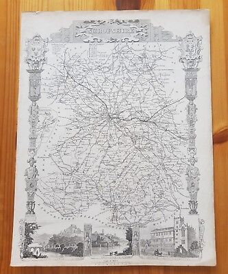 19th century engraving map of Shropshire Moules English Counties