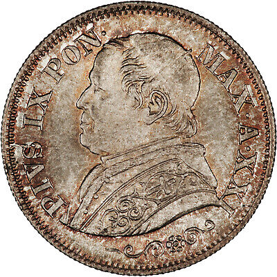 Italy (Papal States) 1866 (Anno XXI) 10 Soldi GEM TONED BU, LOWEST MINTAGE DATE