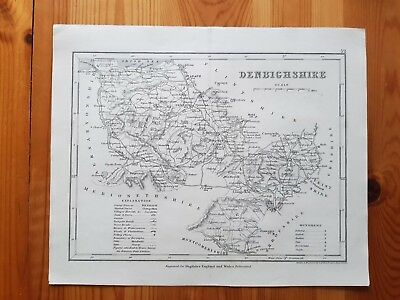19th Century Engraving Map of Denbighshire   DUGDALES