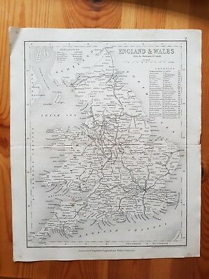 19th Century Engraving Map of England and Wales  DUGDALES