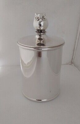 Scatola Gufo Argento 925 Sterlig Silver Owl Finial Cylinder Box