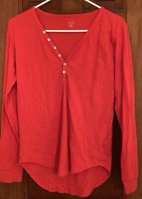 Love By GAP Red Womens Juniors Pajama Long Sleeve Top Size X-Small