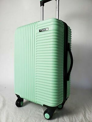 """New Travelers Club  Bassette 20"""" Green Mint Luggage Spinner Carry On Cup Holder"""