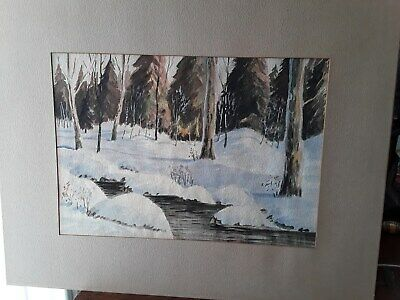 Vintage Oil Painting Winter Landscape  Canadian Artist framed