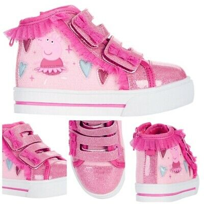 NEW Peppa Pig Girls' Sneakers high top pink LIGHT UP Athletic Shoes