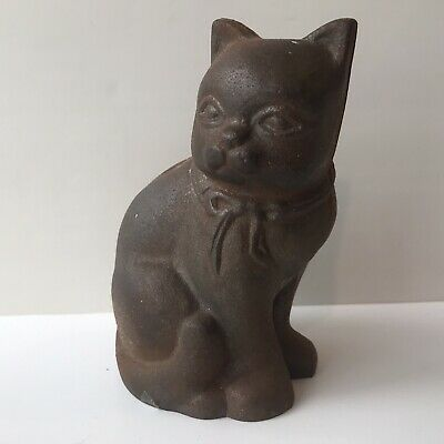 Vintage Metal Cast Iron Kitty Cat with Bow Coin Bank