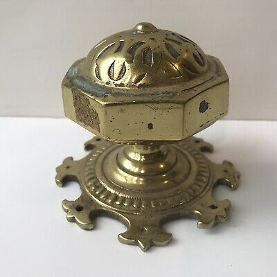 "Large Heavy Ornate Octagonal Solid Brass Architectural Salvage Finial 3.5"" tall"